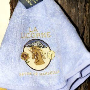 Torchon éponge Bleu rond La Licorne 70 cm