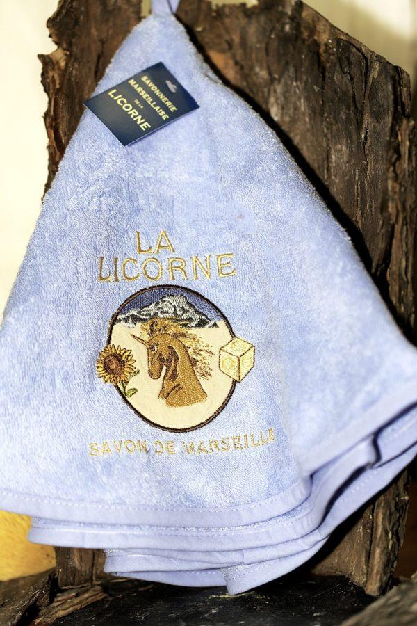 La licorne plaque torchon rond bleu