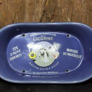 Porte Savon Bleu Ovale en céramique La Licorne pour savon 250 g