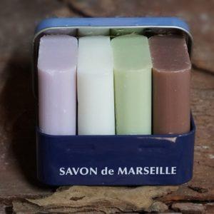 Metal Box, 4 Rectangular Marseille Soaps