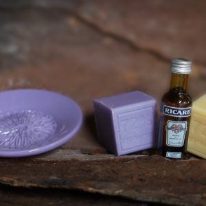 Ceramic garlic grater, 2 soaps, pastis (local alcohol)