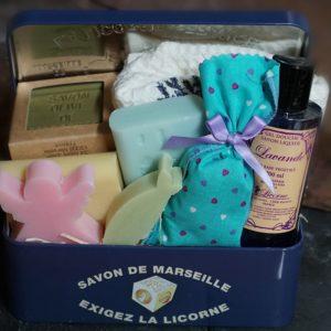 Sugar Box, 6 Marseille Soaps,  kitchen towel & Lavender Sachet