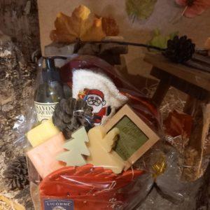 Coeur rouge Noël, 5 Savons, 1 Gel Douche, Serviette