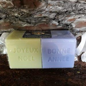 """2 Savons de Marseille """"Joyeux Noël"""" """"Bonne année"""""""