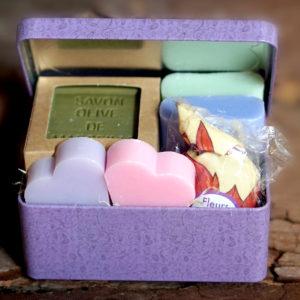 1/2 sugar box Lavender sachet & 5 Marseille Soaps