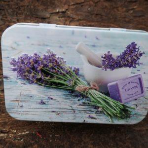 Metal box lavender decoration 100 g